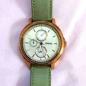 Rose Gold Fossil Watch with Genuine Leather Straps